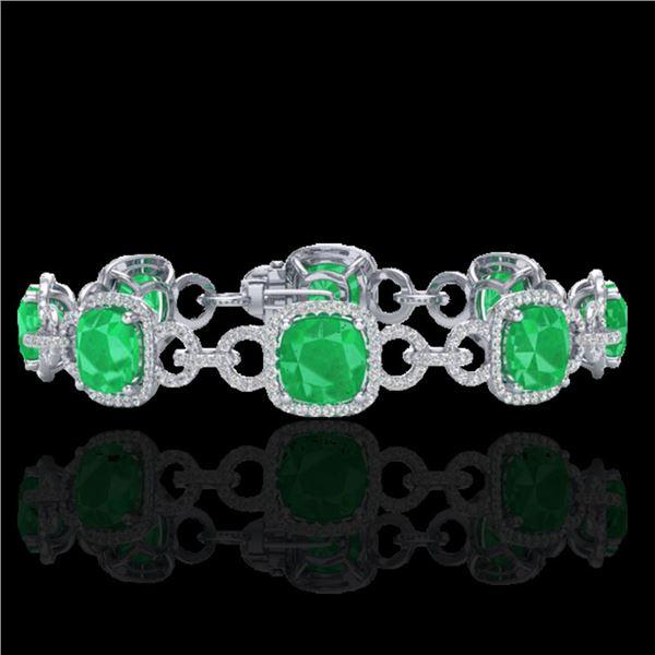 25 ctw Emerald & Micro VS/SI Diamond Certified Bracelet 14k White Gold - REF-457Y3X