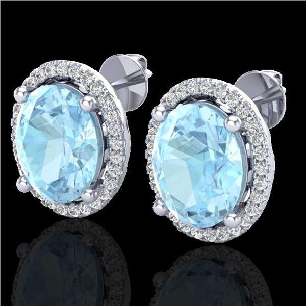 5 ctw Aquamarine & Micro Pave VS/SI Diamond Earrings 18k White Gold - REF-102X8A