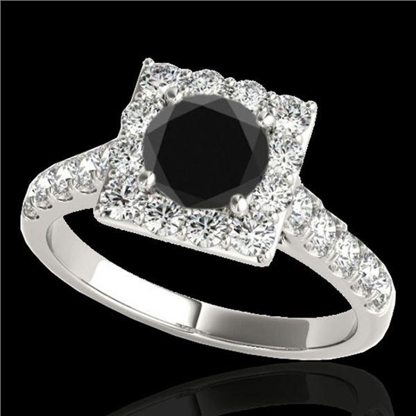 2 ctw Certified VS Black Diamond Solitaire Halo Ring 10k White Gold - REF-76H4R