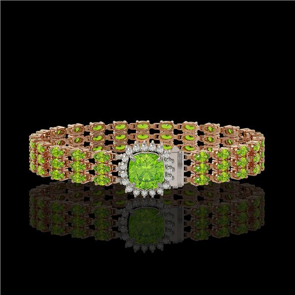29.26 ctw Peridot & Diamond Bracelet 14K Rose Gold - REF-281M8G