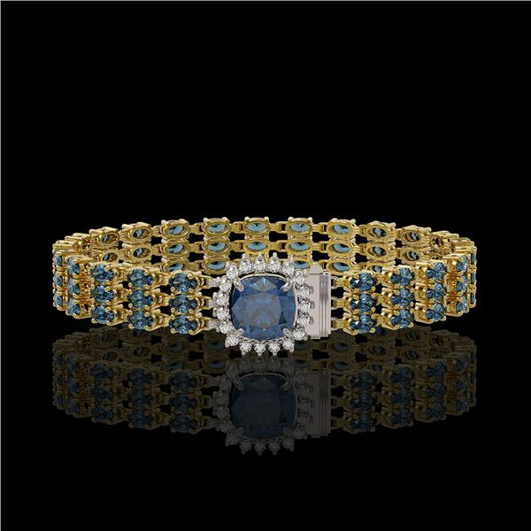 29.89 ctw London Topaz & Diamond Bracelet 14K Yellow Gold - REF-281H8R