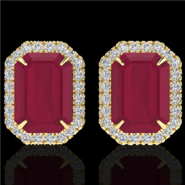 10.40 ctw Ruby & Micro Pave VS/SI Diamond Earrings 18k Yellow Gold - REF-136H4R