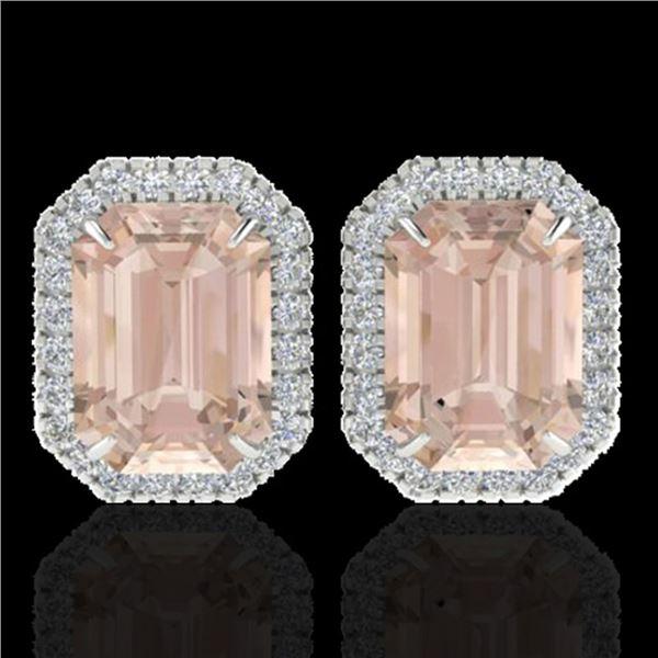 8.40 ctw Morganite & Micro Pave VS/SI Diamond Earrings 18k White Gold - REF-210N8F