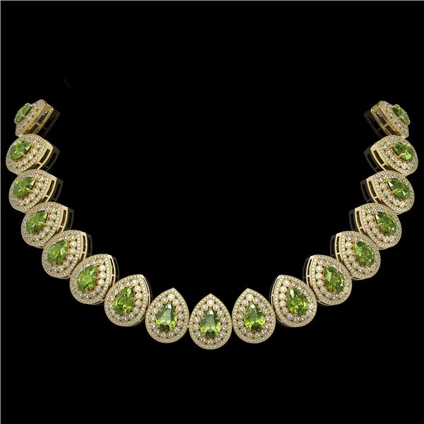 124.02 ctw Tourmaline & Diamond Victorian Necklace 14K Yellow Gold - REF-3955A5N
