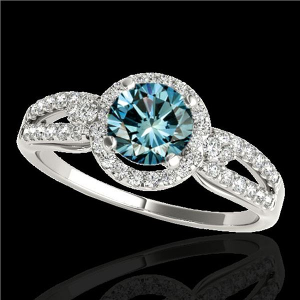 1.25 ctw SI Certified Fancy Blue Diamond Halo Ring 10k White Gold - REF-121F4M