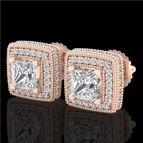 2.01 ctw Princess VS/SI Diamond Art Deco Stud Earrings 18k Rose Gold - REF-285W5H