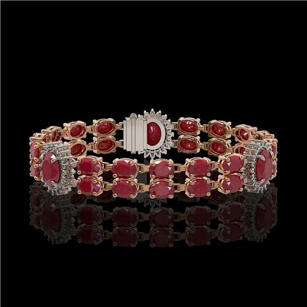 20.99 ctw Ruby & Diamond Bracelet 14K Rose Gold - REF-263X6A