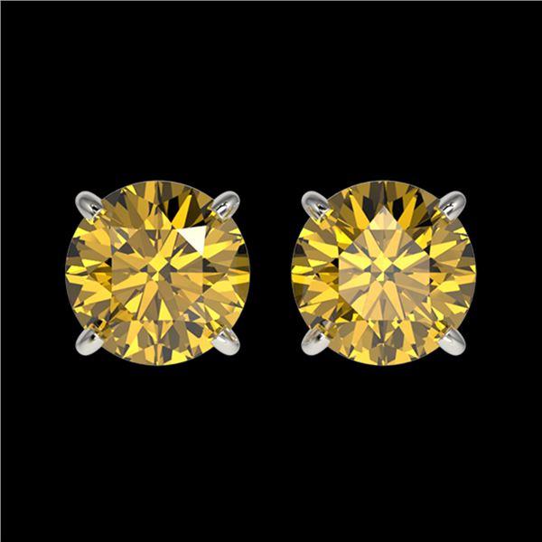 1.50 ctw Certified Intense Yellow Diamond Stud Earrings 10k White Gold - REF-157K3Y