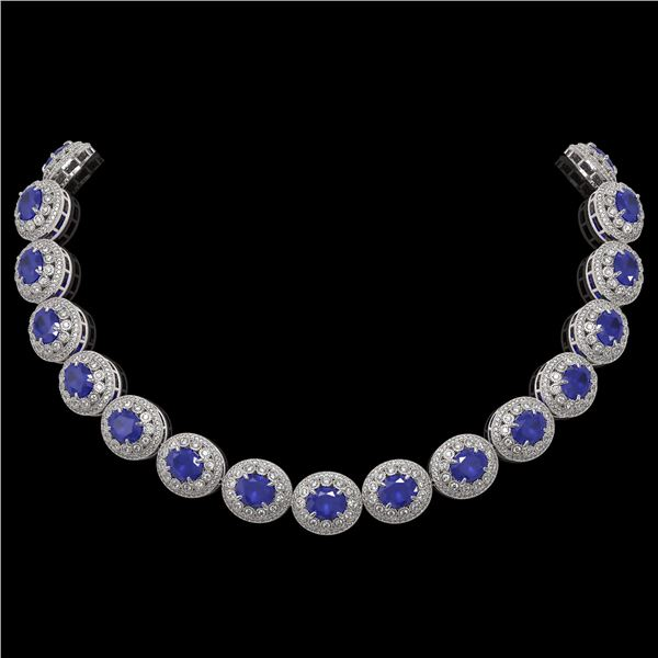 111.75 ctw Sapphire & Diamond Victorian Necklace 14K White Gold - REF-2935X8A