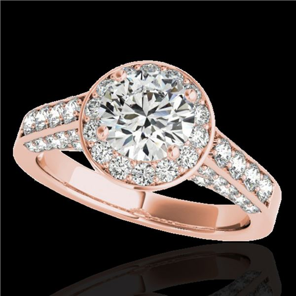 1.8 ctw Certified Diamond Solitaire Halo Ring 10k Rose Gold - REF-218K2Y