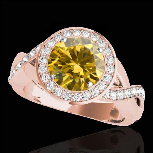 2 ctw Certified SI/I Fancy Intense Yellow Diamond Halo Ring 10k Rose Gold - REF-245Y5X