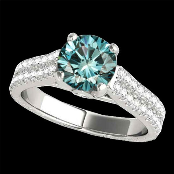 2.11 ctw SI Certified Fancy Blue Diamond Pave Ring 10k White Gold - REF-204Y5X