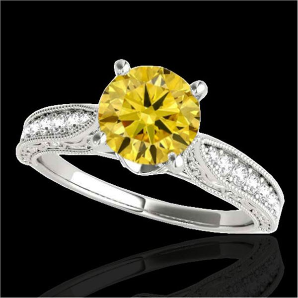 1.21 ctw Certified SI Intense Yellow Diamond Antique Ring 10k White Gold - REF-184Y3X