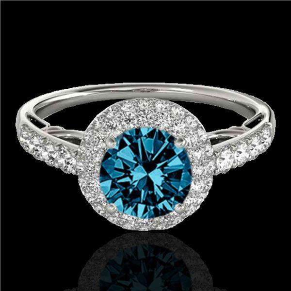 1.65 ctw SI Certified Fancy Blue Diamond Halo Ring 10k White Gold - REF-133F6M