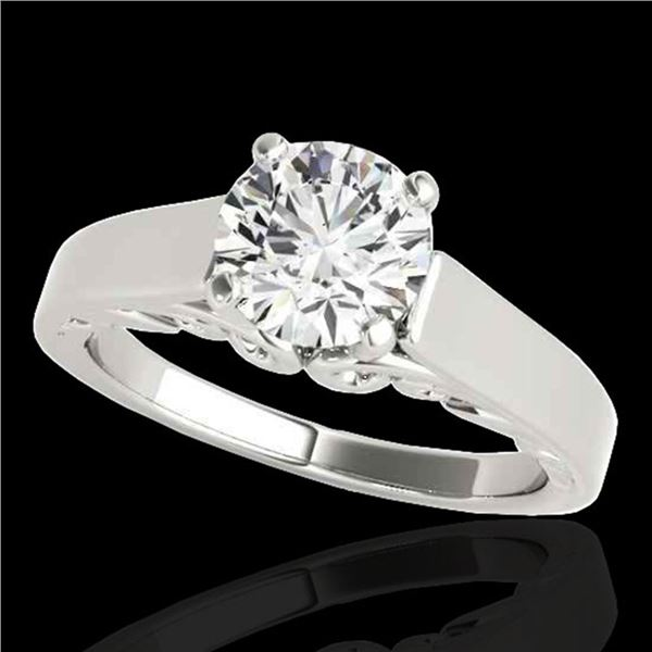 1.25 ctw Certified Diamond Solitaire Ring 10k White Gold - REF-238W6H
