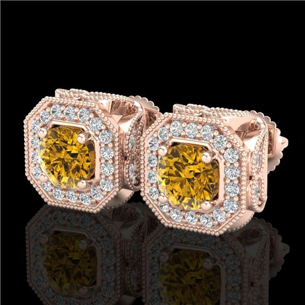 2.75 ctw Intense Fancy Yellow Diamond Art Deco Earrings 18k Rose Gold - REF-290M9G