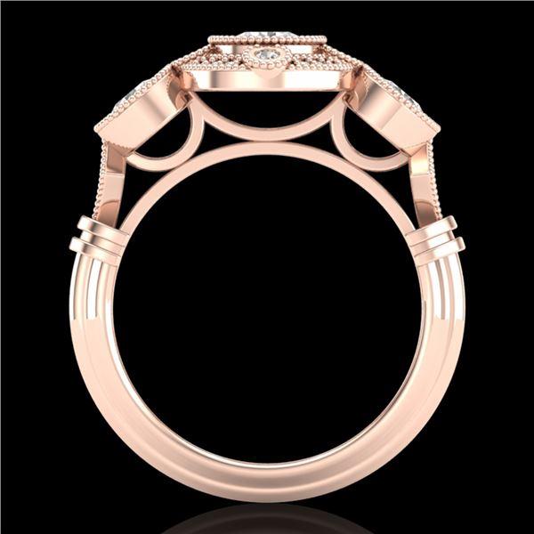 1.51 ctw VS/SI Diamond Solitaire Art Deco 3 Stone Ring 18k Rose Gold - REF-300Y2X