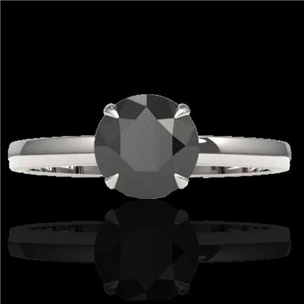 2 ctw Black Diamond Designer Engagment Ring 18k White Gold - REF-83R6K