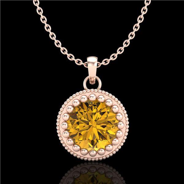 1 ctw Intense Fancy Yellow Diamond Art Deco Necklace 18k Rose Gold - REF-245G5W