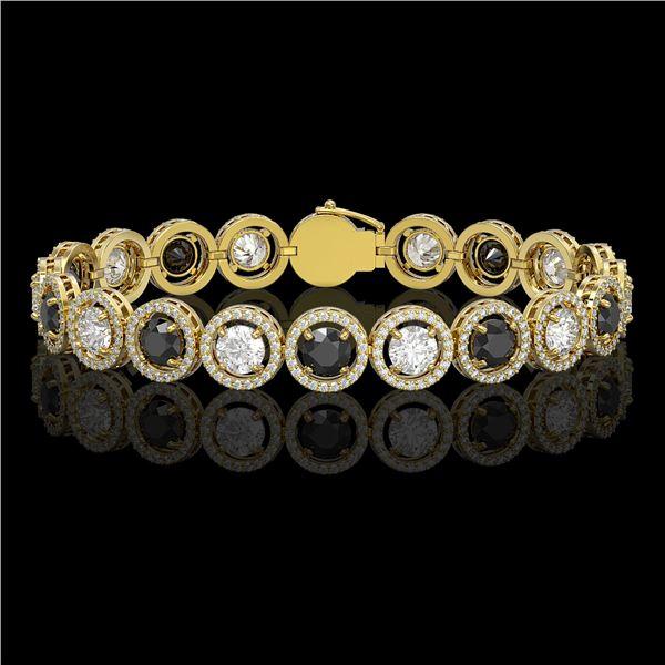 13.96 ctw Black & Diamond Micro Pave Bracelet 18K Yellow Gold - REF-1071M3G