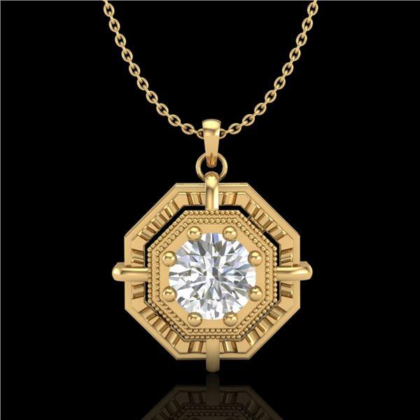 0.75 ctw VS/SI Diamond Art Deco Stud Necklace 18k Yellow Gold - REF-202F5M