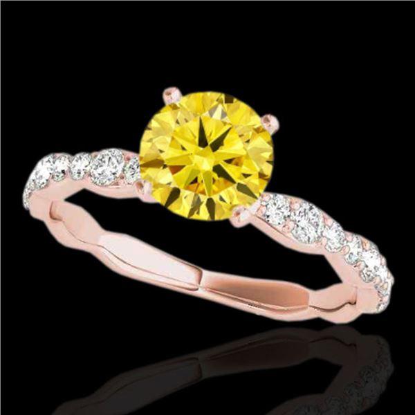 1.4 ctw Certified SI/I Fancy Intense Yellow Diamond Ring 10k Rose Gold - REF-177N3F