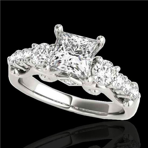1.75 ctw VS/SI Certified Princess Diamond 3 Stone Ring 10k White Gold - REF-296K2Y