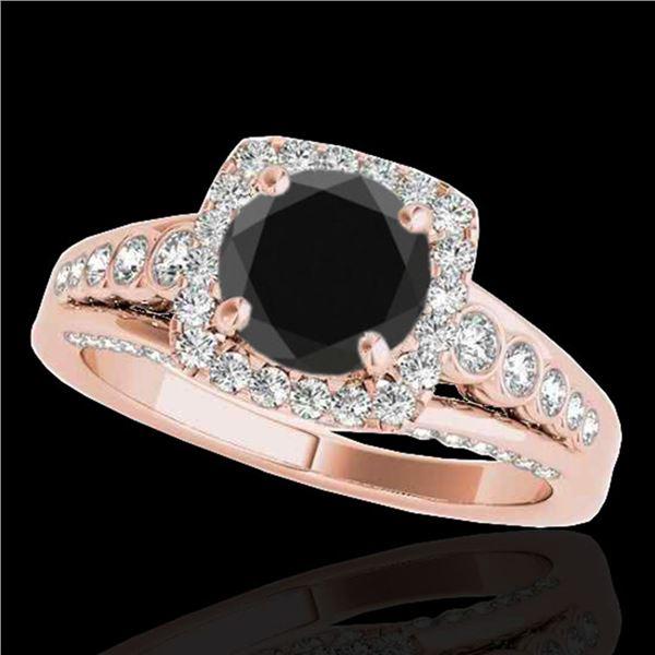 1.75 ctw Certified VS Black Diamond Solitaire Halo Ring 10k Rose Gold - REF-73N4F