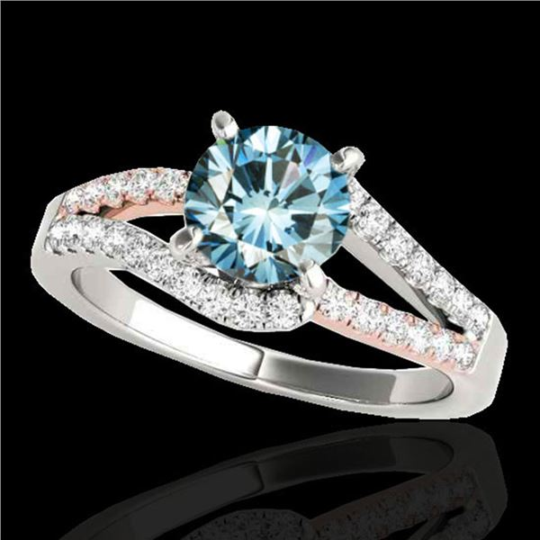 1.4 ctw SI Certified Fancy Blue Diamond Solitaire Ring 10k 2Tone Gold - REF-132N3F