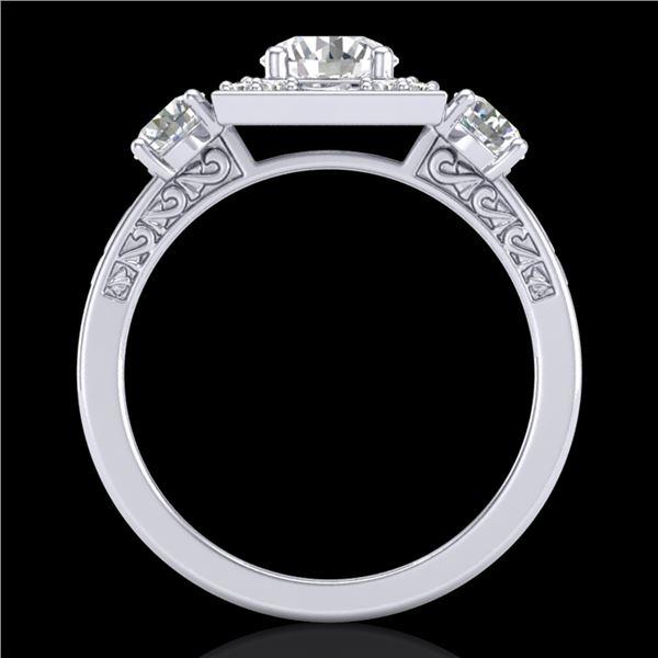 1.55 ctw VS/SI Diamond Solitaire Art Deco 3 Stone Ring 18k White Gold - REF-263W6H