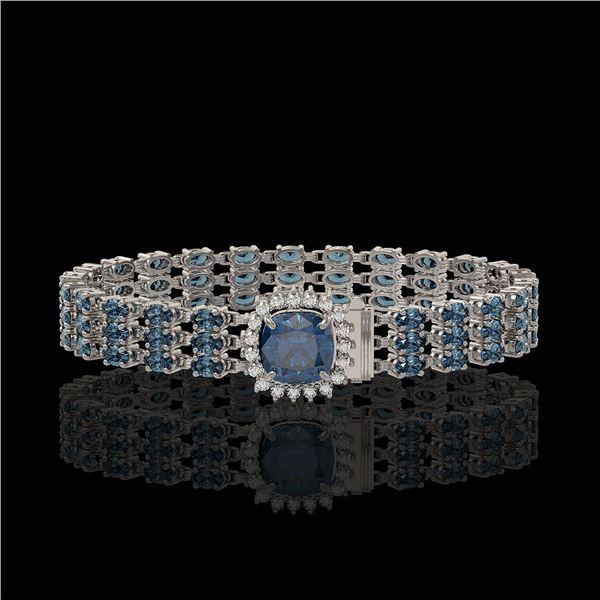 29.89 ctw London Topaz & Diamond Bracelet 14K White Gold - REF-281F8M