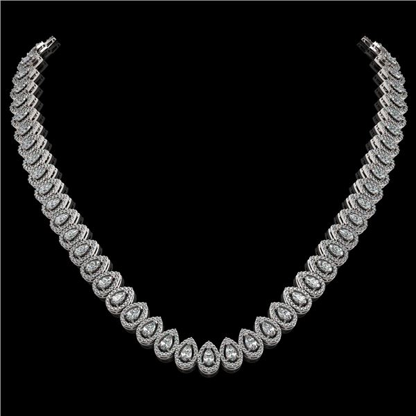 24.19 ctw Pear Cut Diamond Micro Pave Necklace 18K White Gold - REF-2092M6G