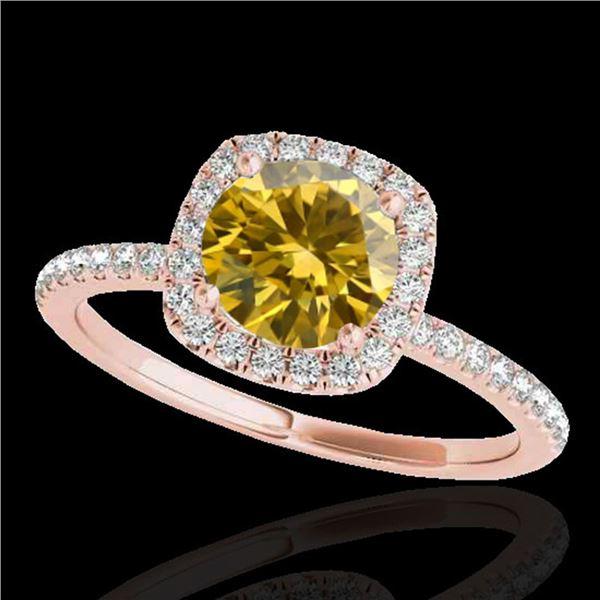 1.5 ctw Certified SI/I Fancy Intense Yellow Diamond Ring 10k Rose Gold - REF-218X2A