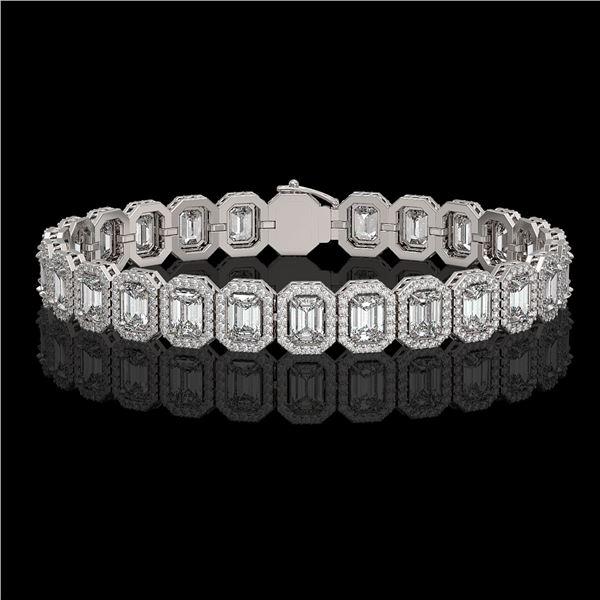 17.28 ctw Emerald Cut Diamond Micro Pave Bracelet 18K White Gold - REF-2686Y8X