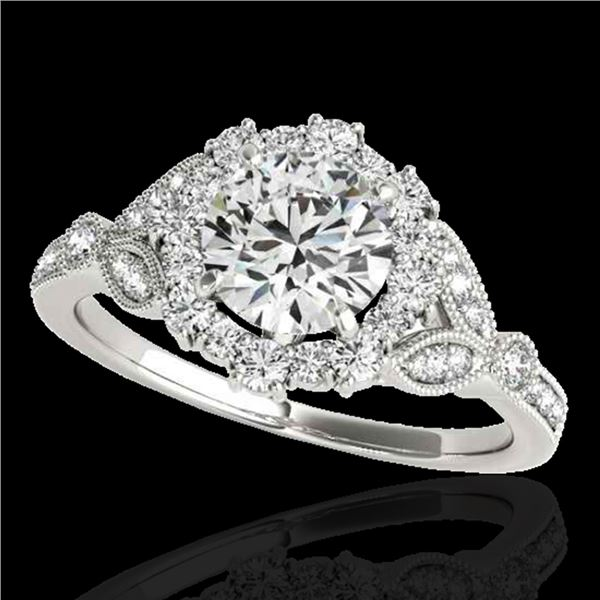 1.5 ctw Certified Diamond Solitaire Halo Ring 10k White Gold - REF-190G9W