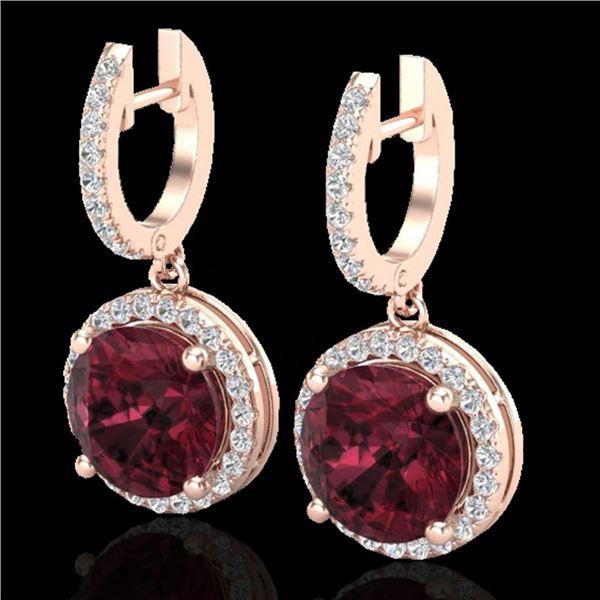 5.50 ctw Garnet & Micro Pave VS/SI Diamond Designer 14k Rose Gold - REF-72G8W