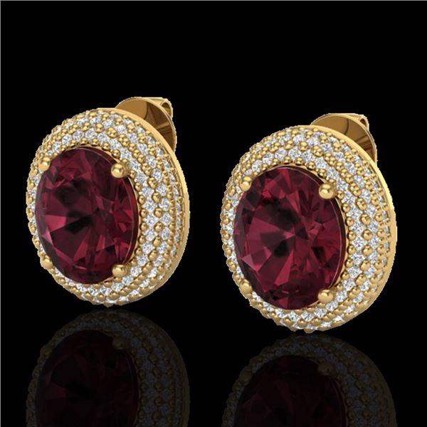 9 ctw Garnet & Micro Pave VS/SI Diamond Earrings 18k Yellow Gold - REF-153F5M