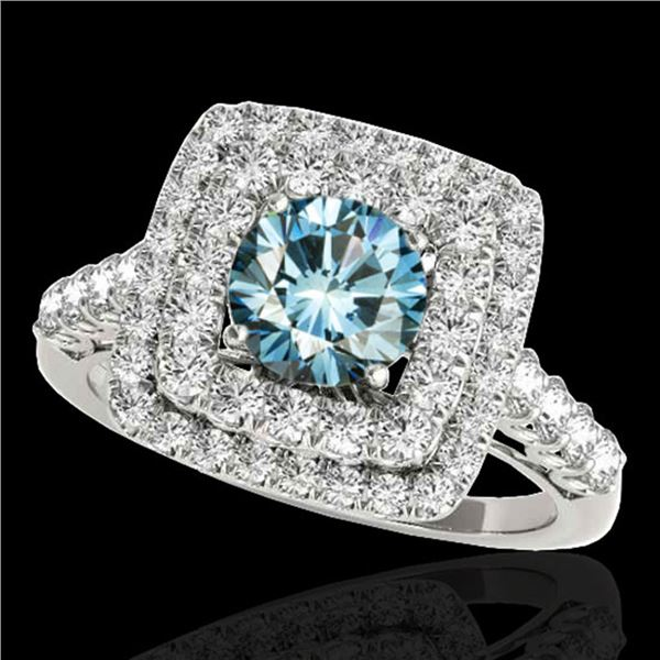 2.3 ctw SI Certified Fancy Blue Diamond Solitaire Halo Ring 10k White Gold - REF-190X9A