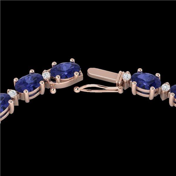 34 ctw Tanzanite & VS/SI Diamond Eternity Necklace 10k Rose Gold - REF-281N8F