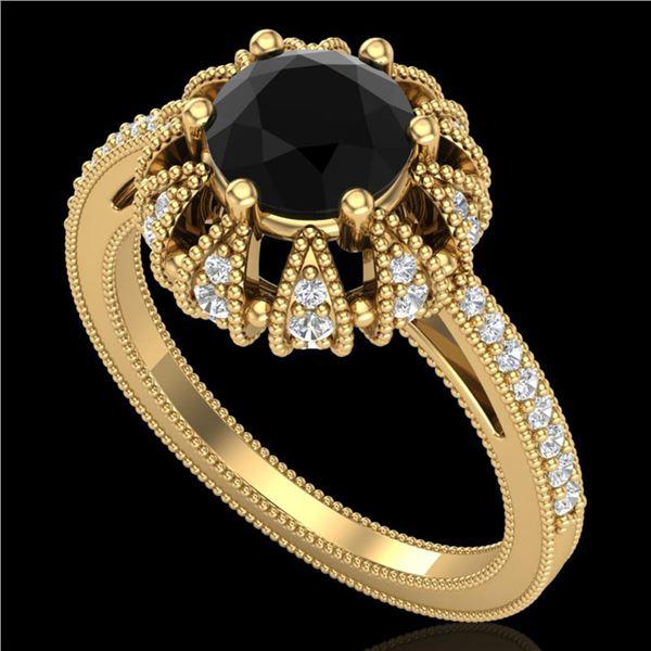 1.65 ctw Fancy Black Diamond Art Deco Micro Pave Ring 18k Yellow Gold - REF-132R8K
