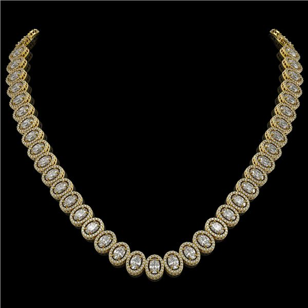 34.72 ctw Oval Cut Diamond Micro Pave Necklace 18K Yellow Gold - REF-4700M9G