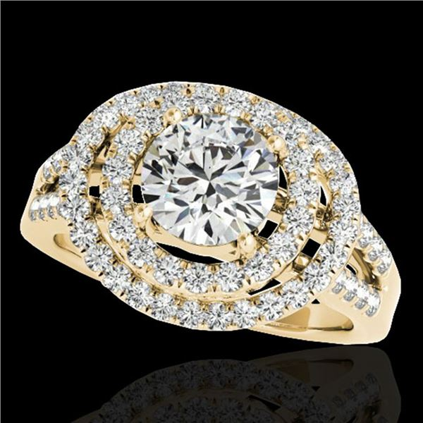 1.75 ctw Certified Diamond Solitaire Halo Ring 10k Yellow Gold - REF-211H4R
