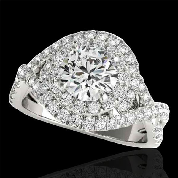 2 ctw Certified Diamond Solitaire Halo Ring 10k White Gold - REF-259M3G