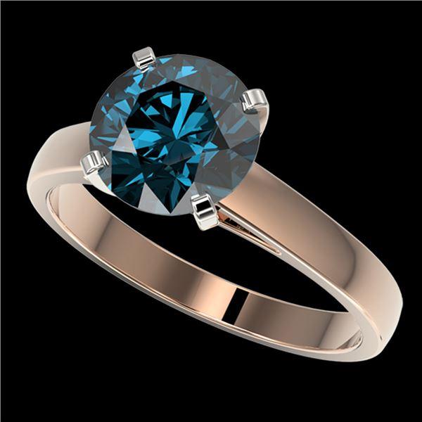 2.50 ctw Certified Intense Blue Diamond Engagment Ring 10k Rose Gold - REF-454M3G