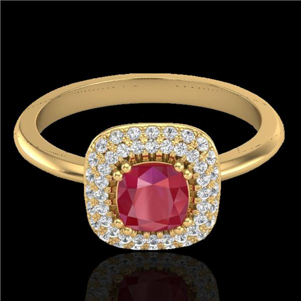 1.16 ctw Ruby & Micro Pave VS/SI Diamond Ring Halo 18k Yellow Gold - REF-80A2N