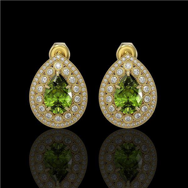 9.54 ctw Tourmaline & Diamond Victorian Earrings 14K Yellow Gold - REF-225H8R