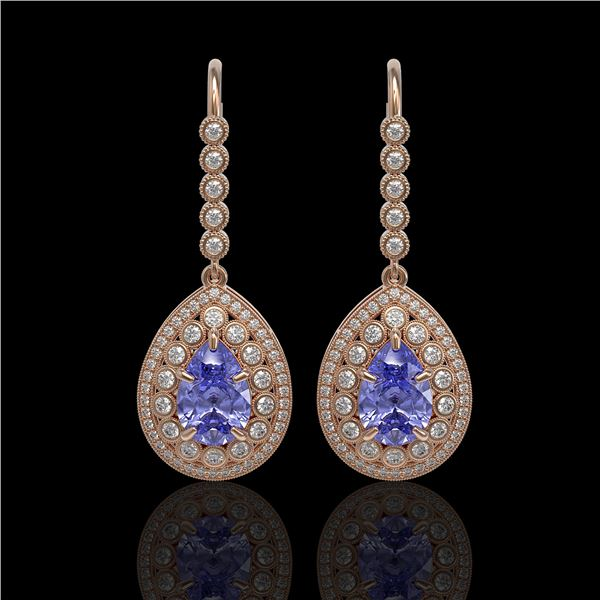 8.95 ctw Tanzanite & Diamond Victorian Earrings 14K Rose Gold - REF-345A5N
