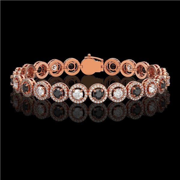 8.83 ctw Black & Diamond Micro Pave Bracelet 18K Rose Gold - REF-569F5M