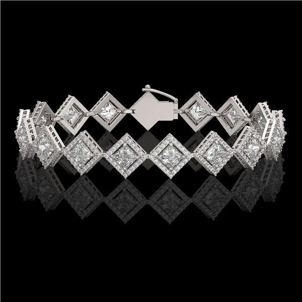 11.7 ctw Princess Cut Diamond Micro Pave Bracelet 18K White Gold - REF-1611N3F