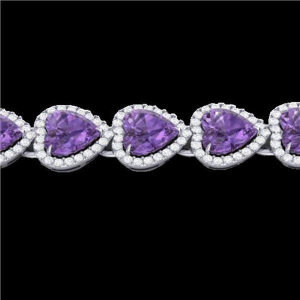 23 ctw Amethyst & Micro Pave Bracelet Heart Halo 14k White Gold - REF-415W5H